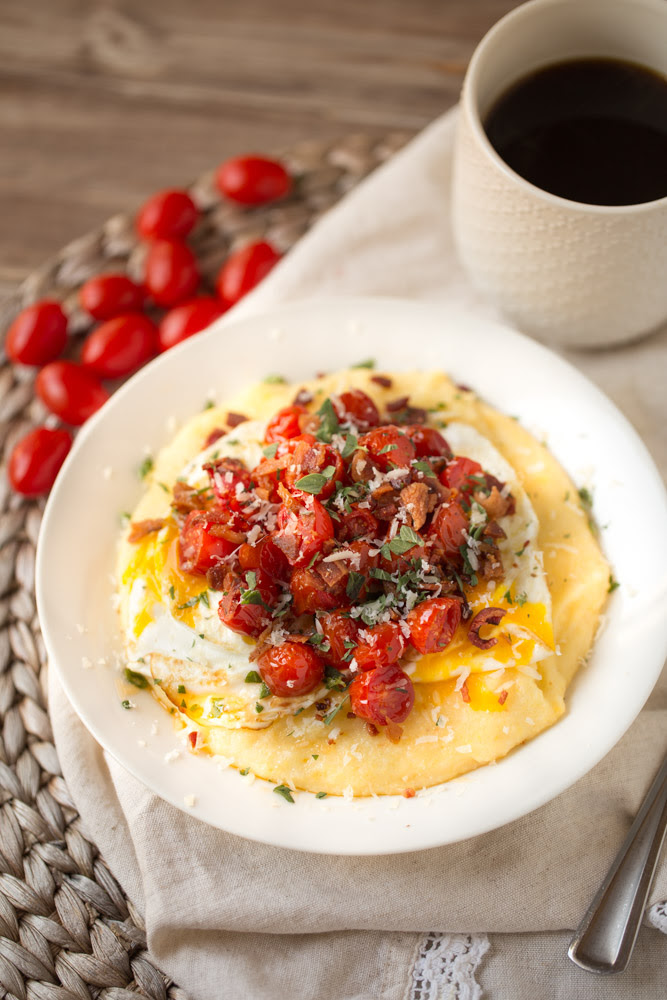 Breakfast Polenta with Roasted Tomatoes, Eggs, and Bacon | This Gal Cooks