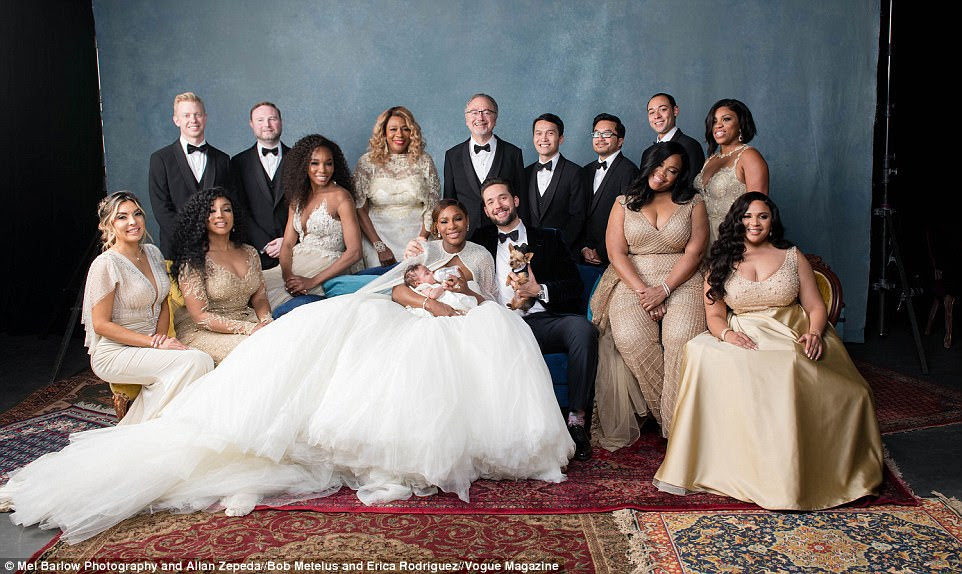 Beautiful: Williams looks gorgeous these photos from Vogue. Here she's showing off her Alexander McQueen princess gown, along with new husband Alexis Ohanian, their daughter, family - and top-hat-wearing dog