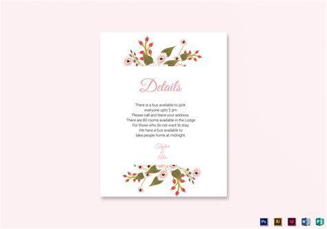 Floral Wedding Details Card Design Template in Illustrator