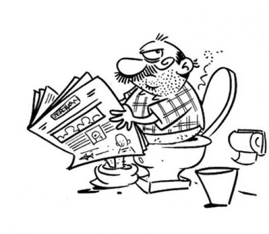 Necesidades Fisiologicas Dibujo De Un Hombre Ocupado En El Bano