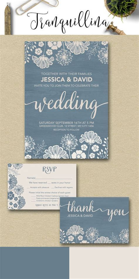 Dusty Blue Wedding Invitation Rustic Wedding Invitation