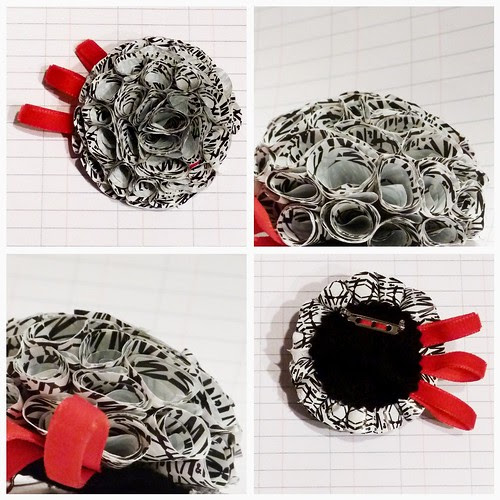 Recycled plastic-bag brooch - Monochrome Dahlia [large]