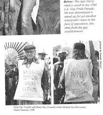 """The """"Gay"""" Agenda's Radical Roots: One-time Communist Harry Hay first envisioned the notion of """"homosexuals"""" comprising a sexual """"minority"""" as a means of winning acceptance and growing power. Here Hay is shown defending the right of the notorious pederasty group NAMBLA (North American Man/Boy Love Association) to march in an early Los Angeles """"gay pride"""" parade."""