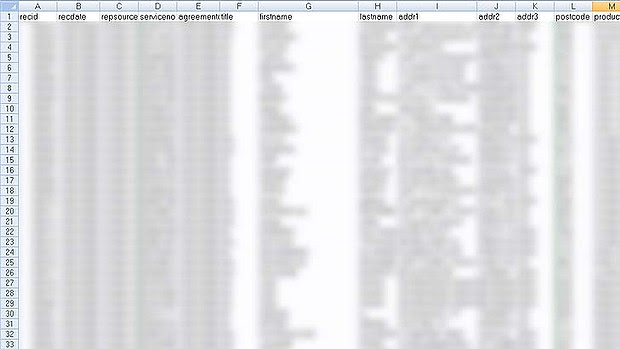 The data in the spreadsheet.