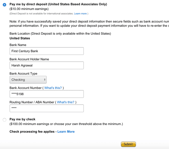 Amazon associates commission India