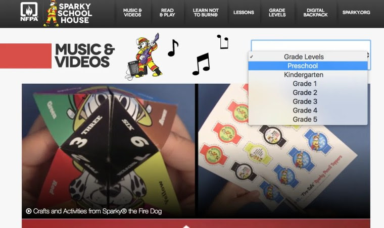 In Sparky's Schoolhouse, you'll find grade-level videos and activities for core subject areas.