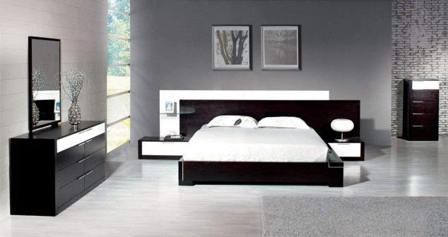 modern white bedroom furniture sets gray wall painting also compact black and white furniture set in picture 634x336 15 Unique Bedroom Furniture Set to Inspire You
