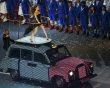 Victoria Beckham of British pop group The Spice Girls performs on the top of a London taxi during the closing ceremony of the London 2012 Olympic Games at the Olympic Stadium