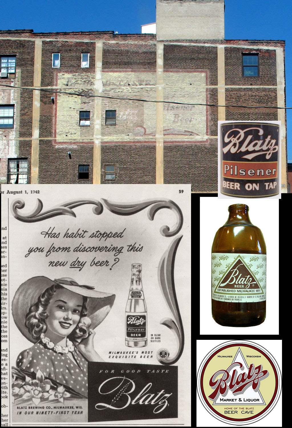 The beer brand on the sun faded advertisement was Milwaukee brewed, Blatz Beer. After doing some digging using Google, I found a key advertisement from a 1942 magazine article about Blatz Beer.