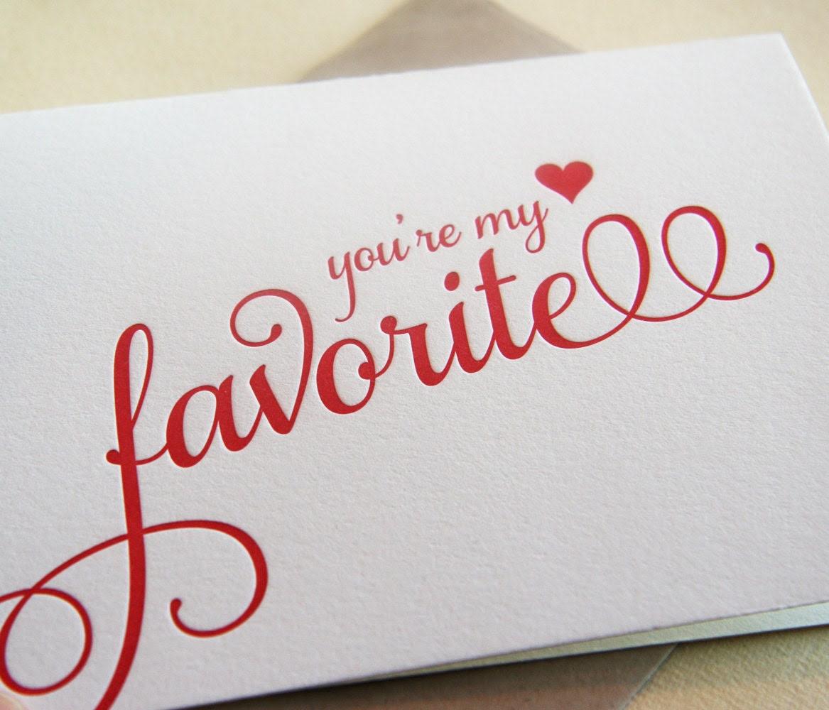Letterpress Valentine Card - i love you - My Favorite script