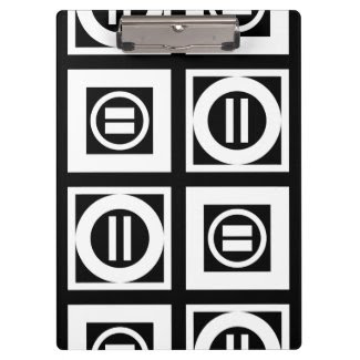 White on Black Geometric Equal Sign Pattern Clipboard