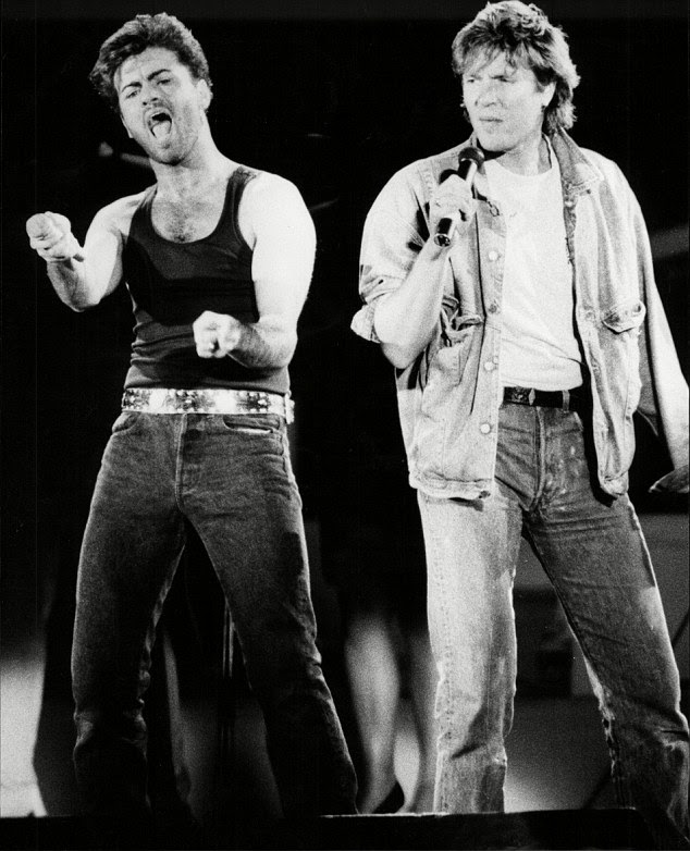 Music industry greats: Duran Duran said it was the 'loss of another talented soul' after George's death (pictured Simon le Bon with George at Wham's final concert)