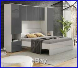 Grey Gloss Over Bed Overbed Storage Unit Bedroom Wardrobe ...
