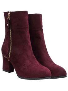 Wine Red Chunky Heel Suede Mid-calf Boots