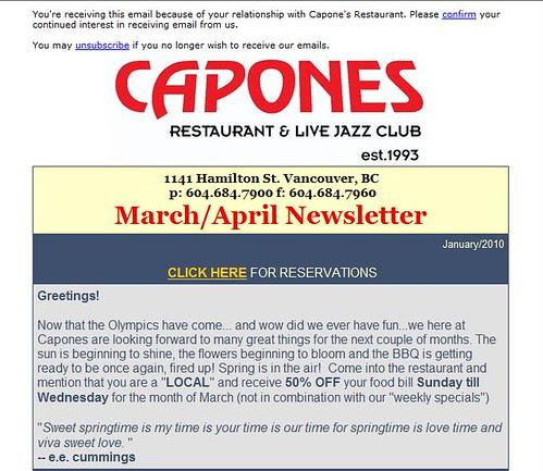 Capones March-April 2010 Newsletter excerpt