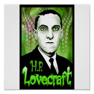 H.P. Lovecraft portrait (green) Poster