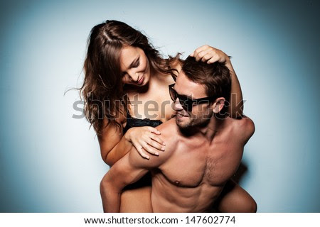 romantic couple in intimacy relations having fun - stock photo