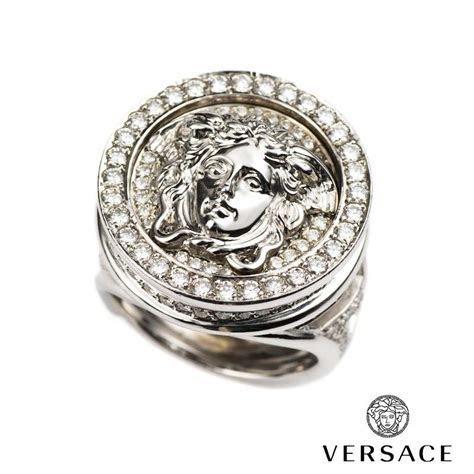 Versace 18k White Gold Diamond Set Medusa and Greca Ring