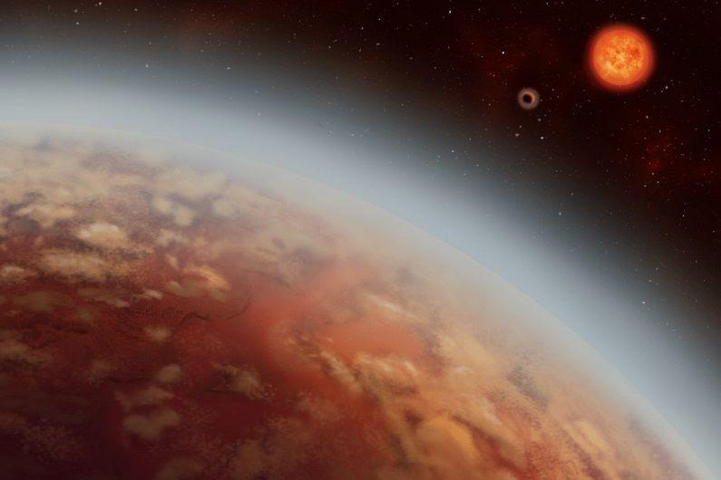 Ilha artística do planeta K2-18b, sua estrela K2-18 e o segundo planeta K2-18.