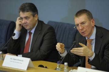 Edgars Rinkēvičs (right), Latvia's foreign minister, visited Spain in April.