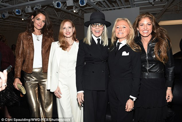 VIP arrivals: She was joined by Katie Holmes, Diane Keaton, Ricky Lauren and Dylan Lauren (from left to right)