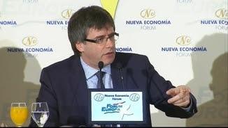 Carles Puigdemont durant un esmorzar informatiu a Madrid