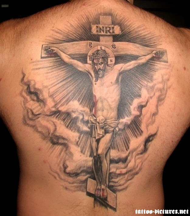 3d Cross And Jesus Tattoo On Man Back