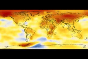This color coded map shows a progression of changing global surface temperatures from 1880 to 2005, the warmest ranked year on record.