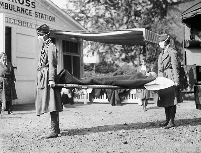 Demonstration at the Red Cross Emergency Ambulance Station in Washington, D.C., during the influenza pandemic of 1918. (Image from wikipedia.org)
