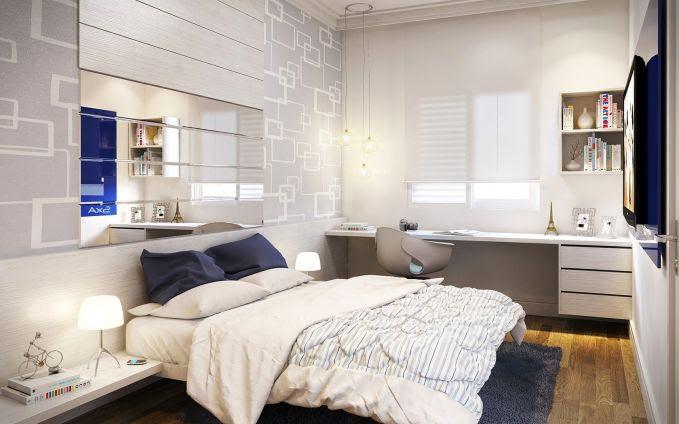 Agar kamarmu yang kecil terlihat lebih luas, kamu bisa meletakkan cermin pada dindingnya.