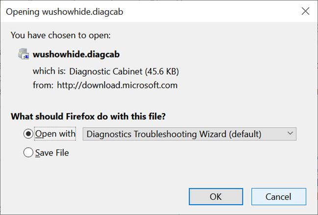 Guarde el archivo necesario para mostrar u ocultar actualizaciones en Windows 10