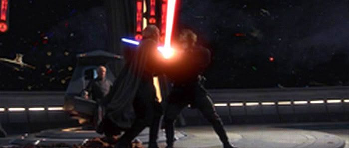 Onboard The Invisible Hand, Chancellor Palpatine looks on as Anakin duels with Count Dooku.