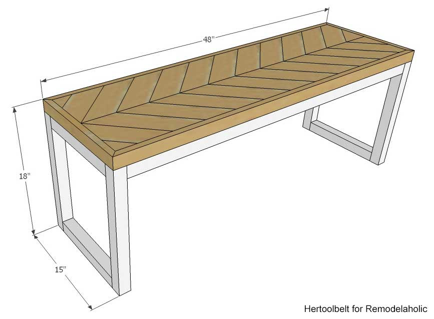 Remodelaholic | DIY Wood Chevron Bench with Box Frame