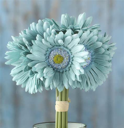 Teal Artificial Gerbera Daisy Bouquet   Bushes   Bouquets