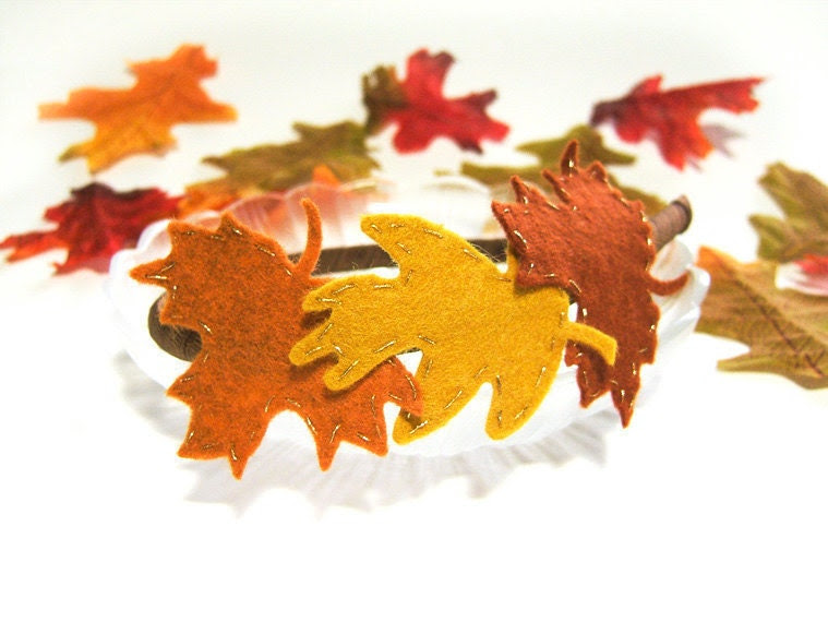 Autumn Leaves Headband, Felt Oak Leaves Maple Leaves, Fall Headband, Red Brown, Orange, Mustard Yellow, Hand Embroidered Felt - MySweetieBean