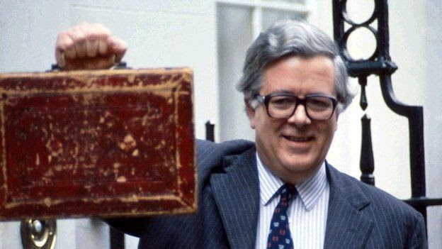 Geoffrey Howe with the budget red box
