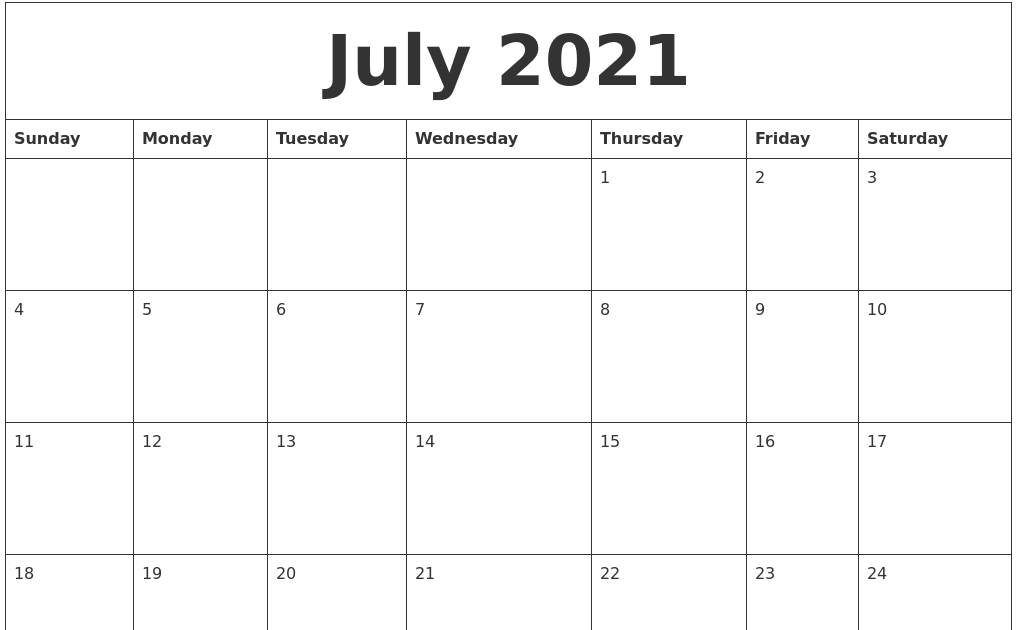 Printable Calendar July 2021 | Huts Calendar
