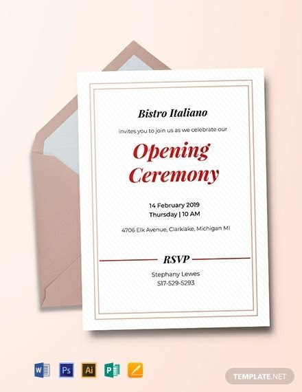 FREE Opening Ceremony Invitation Card Template   Word