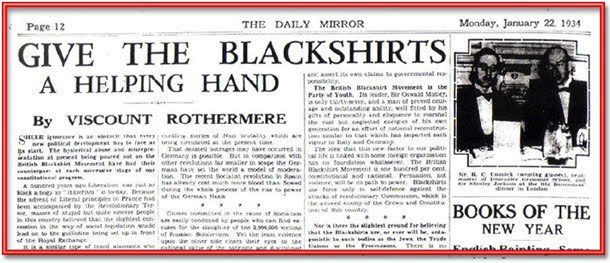 daily mail: hurrah for the blackshirts!