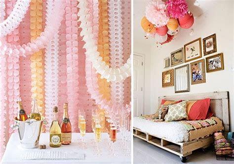 paper garland backdrop; paper lantern ceiling decoration