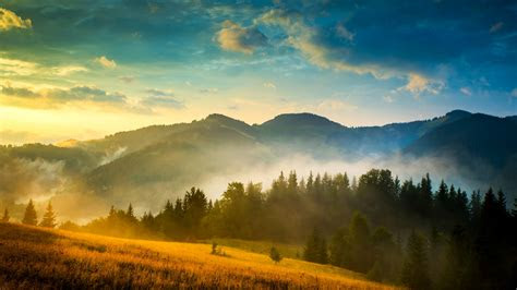 wallpaper mountains landscape haystack fog  nature