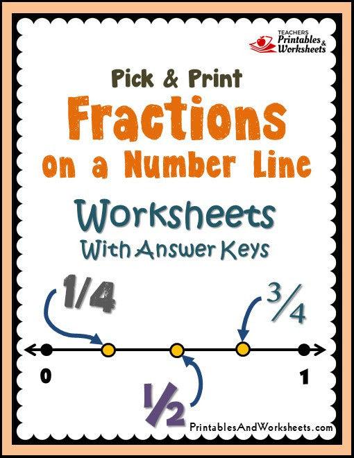 127 fractions on a number line worksheets 1