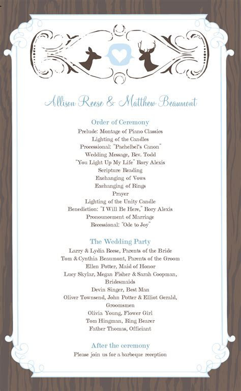 Wedding Program Templates Free   WeddingClipart.com