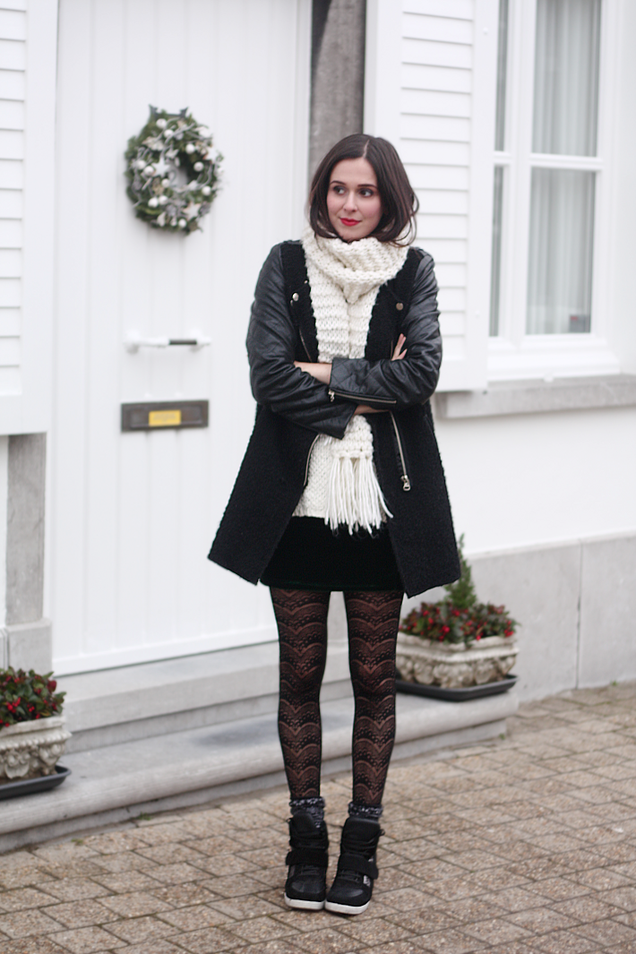 Velvet Skirt, Lace Tights, Sneaker Wedges and Red Lips