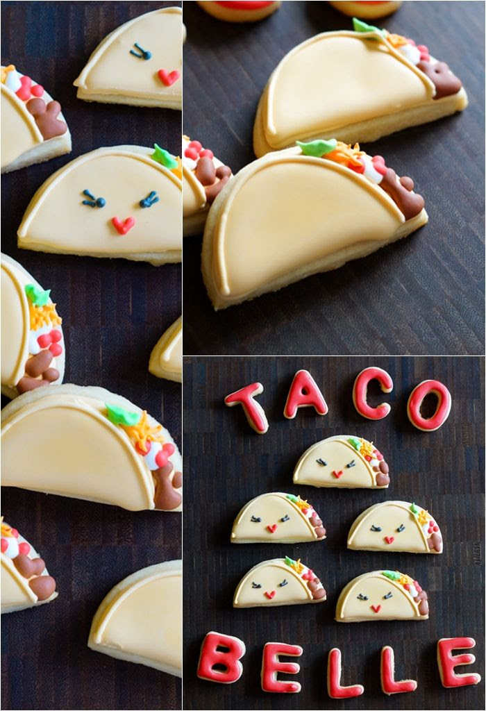 taco 'bout a fun cookie tutorial from bakeat350.blogspot.com : tacos and taco belle cookies