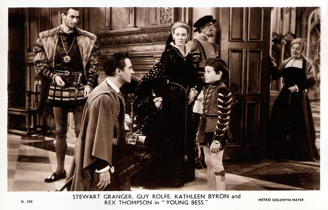 Stewart Granger, Guy Rolfe, Kathleen Byron, Rex Thompson in Young Bess