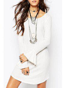 Bell Sleeve Hollow Back White Dress
