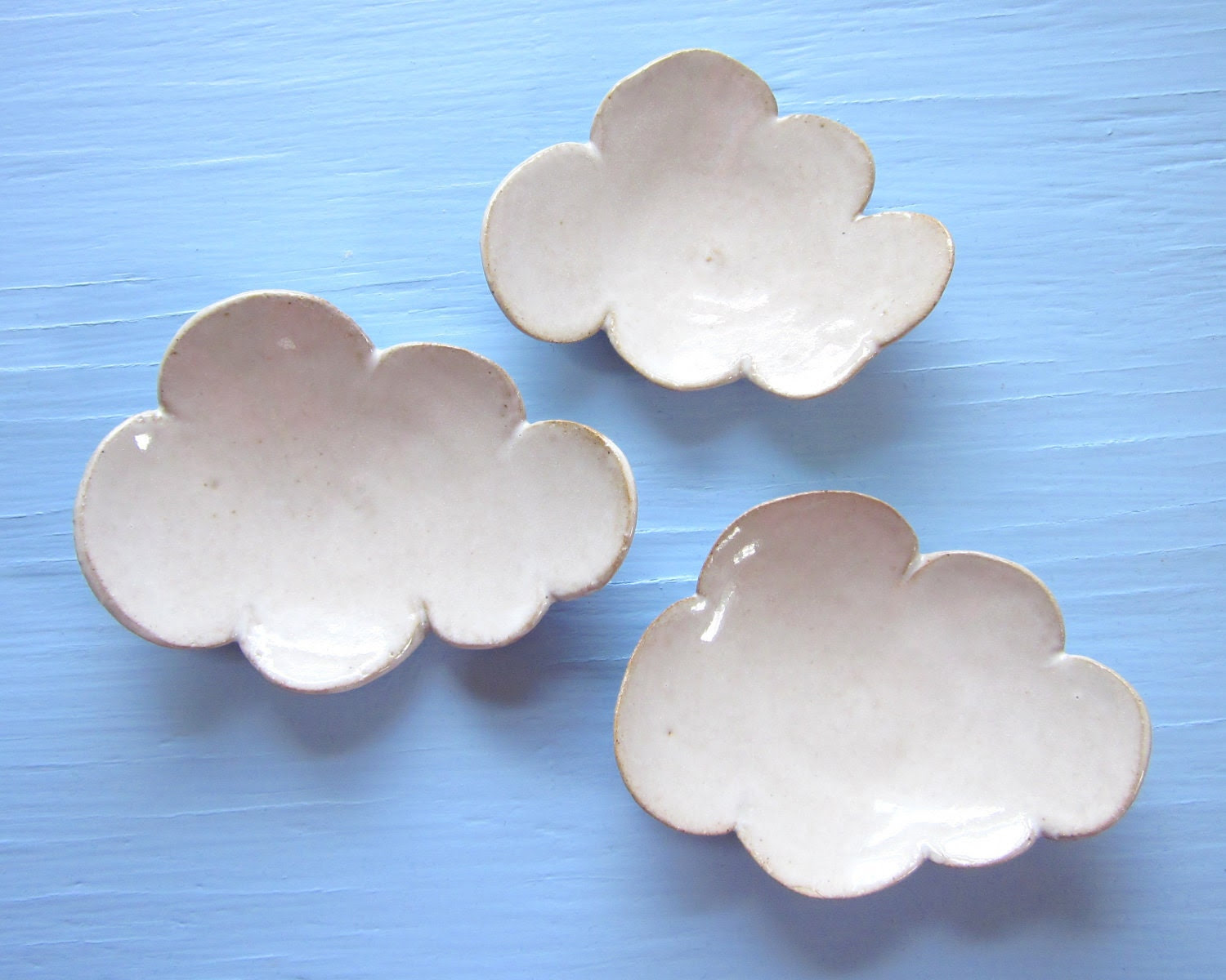 3 small cloud dishes - JDWolfePottery