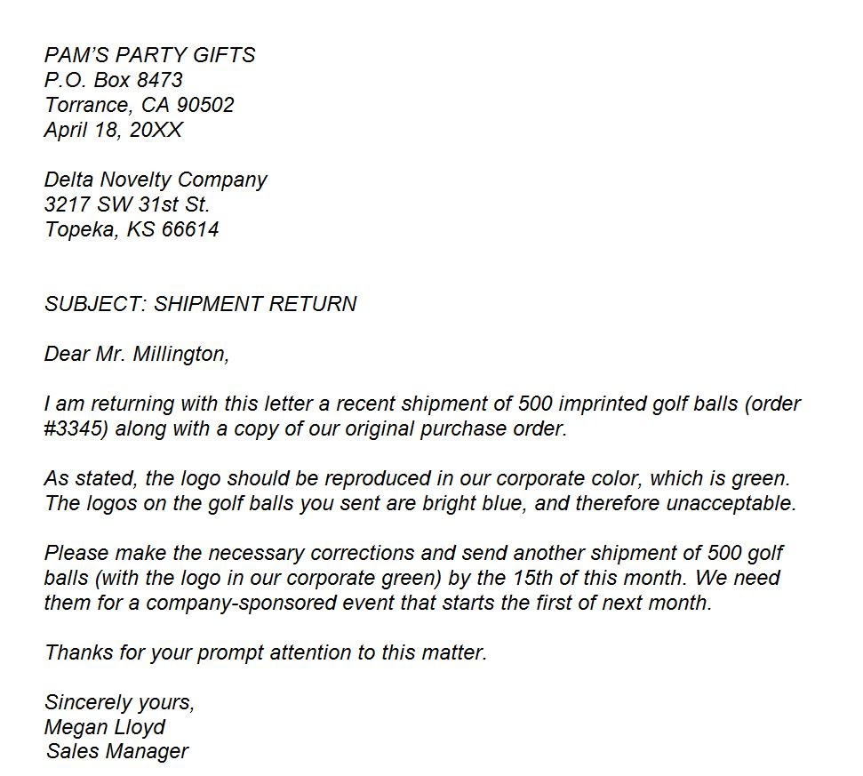 EXAMPLE 'Business Letter of Complaint'