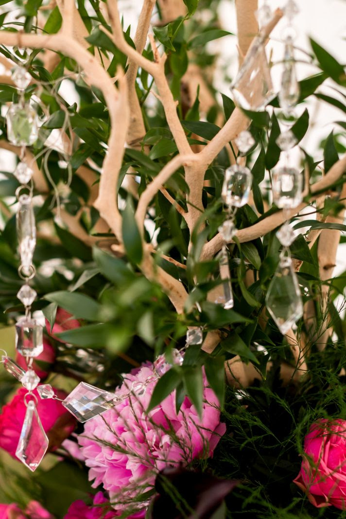 Branchy wedding centerpiece hot pink and green